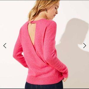 Loft sweater - crossover open back Neon pink